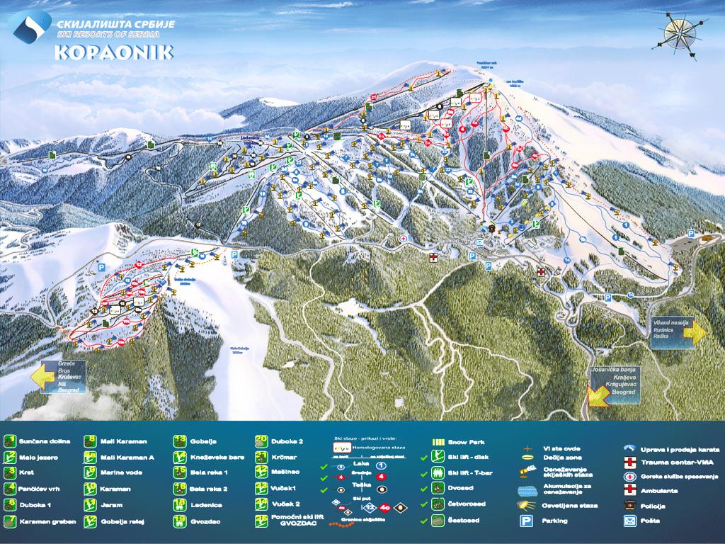 kopaonik mapa Ski Map | Kopaonik Apartmani kopaonik mapa